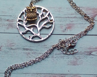 owl in a tree pendant necklace