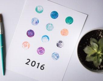 2016 Moon Calendar - Digital Printable Calendar