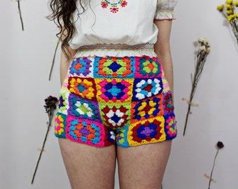 Crochet Rainbow Granny Square Shorts (Handmade)