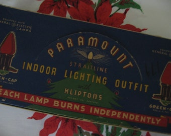 Vintage Christmas Tree Lights Paramount Original Box Indoor Light Outfit with General Electric Lamps Works - 1930's