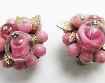 Vintage 1950s Gold Toned Wire Mounted Pink Bead Floral Earrings