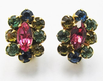 Vintage 1950s Signed Coro Gold Toned Multi Colored Rhinestone Earrings
