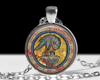 Rosicrucian pelican pendant, rose and cross jewelry, magic necklace, esoteric jewelry, occult pendant #264