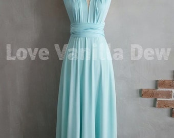 Bridesmaid Dress Infinity Dress Pastel Blue with Chiffon Overlay Floor Length Maxi Wrap Convertible Dress Wedding Dress