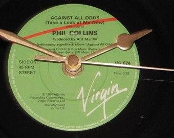 "Phil Collins against all odds take a look at me now  7"" vinyl record clock"