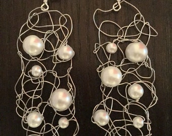 Knitted Earrings, Knitted Wire Jewelry, Ready To Ship, Pearl Earrings, Dangle Earrings, Bridal Jewelry, Gift For Her