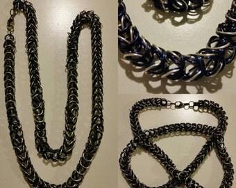 Long Chain Necklace Black/Blue/Silver