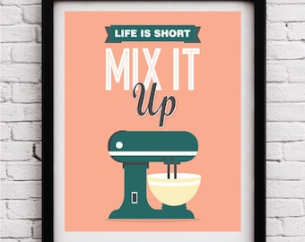 Mix it up, Kitchen decor,kitchen print,kitchen wall art,kitchen print set, kitchen decoration,kitchen poster,funny kitchen print, fun poster