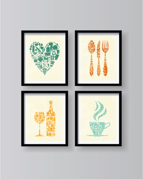 Set of 4 retro style kitchen decor kitchen wall art for Kitchen wall decor sets