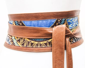 Tan Leather Dashiki Wax Print corset Obi Belt | Angelina Print Waist Belt | Leather Ankara Obi Belt | Plus Size Belt