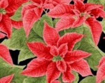 Holiday Henry Glass Christmas Elegance Poinsettias Fabric