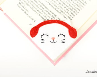 White cat with red earmuffs, corner felt bookmark, pet love, cat lover