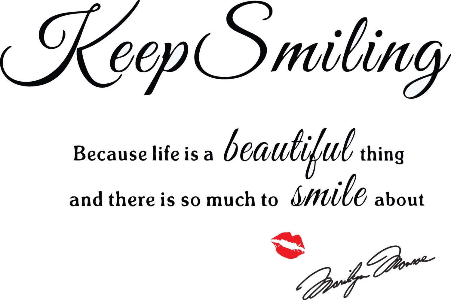 Marilyn Monroe Wall Decal: Keep Smiling Decal Home Decor