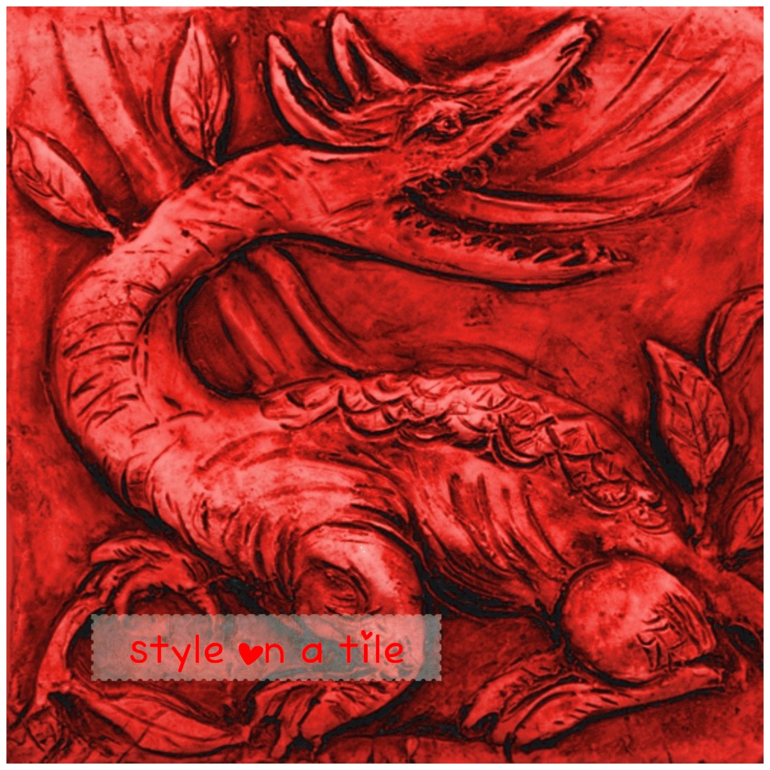 Red Dragon Tile : Lovely william de morgan red dragon ceramic small tile