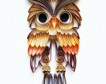 """Quilled Paper Art: """"Colourful Owl"""" - Handmade Artwork - Paper Wall Art - Home Decor - Wall Decor - Home Decoration - Quilled Art"""