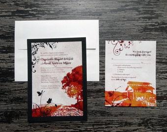 Virginia Tech Wedding Invitation Set: Invite + Envelope, Reply Card + Envelope
