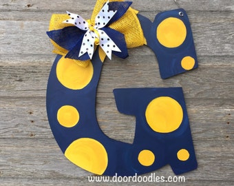 Letter Initial Last Name Surname Front door decoration hanging dotty polka dots