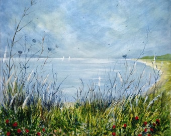 Evening Light Over The Bay. Original seascape landscape