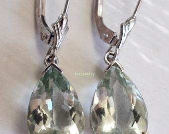 14K White Gold 7.74 Carat Swiss Green Amethyst Earrings