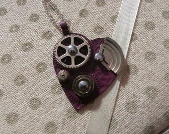 Purple Steampunk Heart Pendant