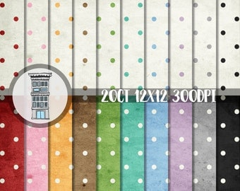 Digital Scrapbook Paper Pack Polka Dots INSTANT DIGITAL DOWNLOAD Aged vintage distressed polka dot pack 20 papers planner stickers card