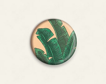 Banana Leaf illustrated one-inch pinback button badge - small pin