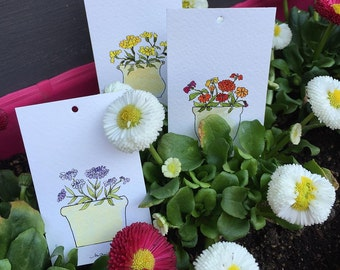 Gift tags with different flowers -  set of 8 tags