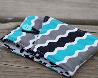 Coffee Cozy - Cup Holder - Cup Sleeve - Reusable Coffee Sleeve - Waves - Blue - Gray - Black - Coffee Lover Gift - Teacher Gift