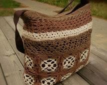 Crochet bag, knitted bag, tote bag, brown textile bag, hand knit bag, beige bag, boho bag, women's bag