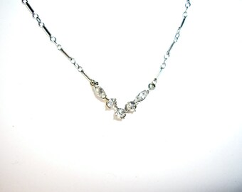 Marquise Diamond and 14K White Gold V Necklace, Vintage
