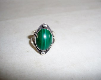 Sterling Silver Malachite Statement Ring Vintage