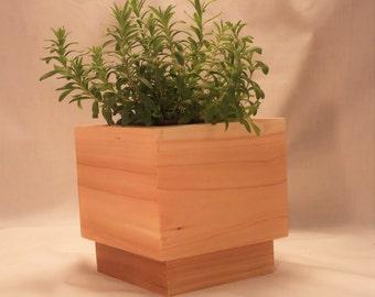 "Natural All Cedar Wood Planter---------- 6"" L x 6""W x 5 1/2"" H ------------Centerpiece, Home Decor, Planter, Wedding Centerpiece, Gift"