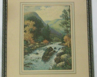 Framed Vintage Landscape - Nature Lithograph Print - 13 x 10 - Free Shipping