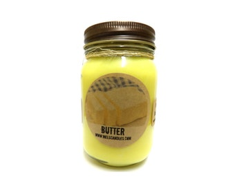 Butter 16oz Country Jar Handmade Soy Candle Approximate Burn Time 144 Hours