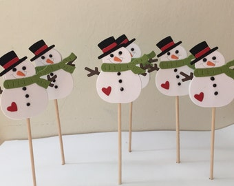 Snowman Cupcake Toppers, Snowmen Cupcake toppers, Christmas Cupcake Toppers