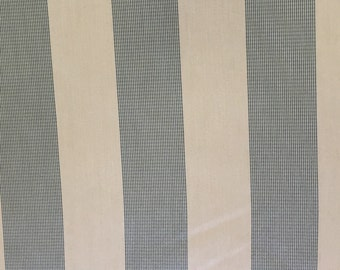 Sunbrella Awing Stripe - Off White and Spa Blue - 100% Solution Dyed Acrylic - Indoor Outdoor