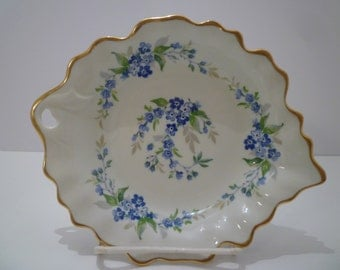 LIMOGES VINTAGE CHINA Dish. French Limoges Candy, Nut, Trinket Dish. Forget Me Nots. Limoges Dish