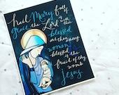 Hail Mary {Blue} 8x10 Handlettered Print Unframed Catholic Art