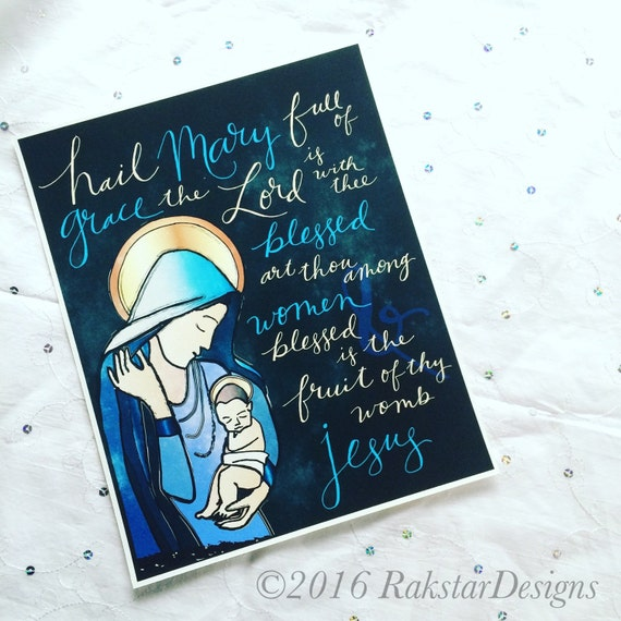 Hail Mary {Blue} 8x10 Handlettered Print Unframed Catholic Art