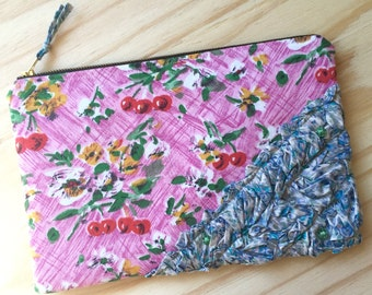 Clutch - Clutch Bag - Purse - Zippered Pouch - Recycled Upcycled Textiles - Retro Vintage - Eco Conscious - Pink Cherry