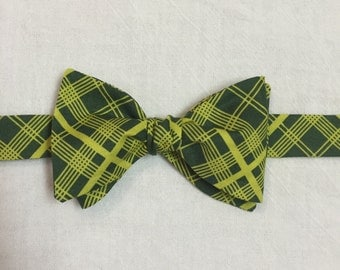 Green and yellow neon plaid bow tie