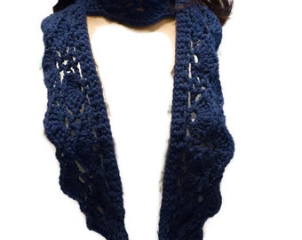 Crochet Cowl, Crochet Blue Cowl, Handmade Winter Neck Warmer
