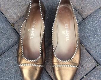 Vintage Chanel Bronze Flats
