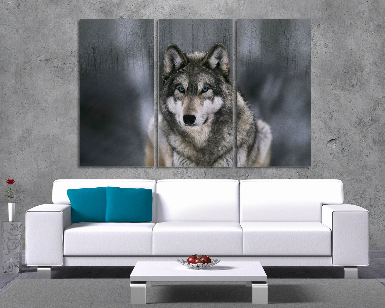 3 panel split canvas print 1 5 deep frames wolf. Black Bedroom Furniture Sets. Home Design Ideas