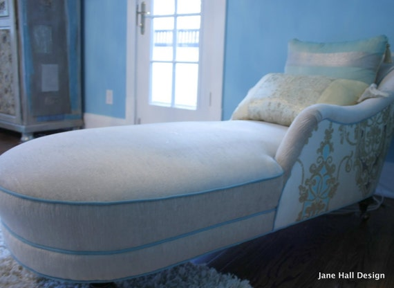 Upcycled upholstered 1940 39 s chaise lounge aqua blue for Aqua chaise lounge