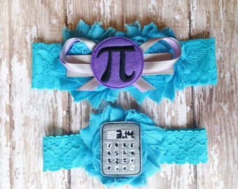 Something Blue Pi Garter Set |  Mathematician Wedding Garters | Bridal Garter and Toss Garter | Other Colors Available