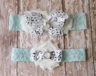 Something Blue Music Notes Wedding Garters | Musical Wedding Garters...Bridal Garter and Toss Garter