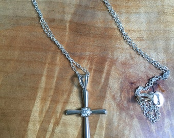 Sterling and cz cross necklace