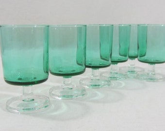 6 Luminarc Cavalier glasses. green glasses, 9cm tall, stem glasses, green cavalier, French vintage. 1970's Retro dining. 2 sets available.