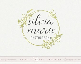 Wreath logo, Photography logo, Circle logo, Stamp logo design, Flowers logo design, Spring logo 452